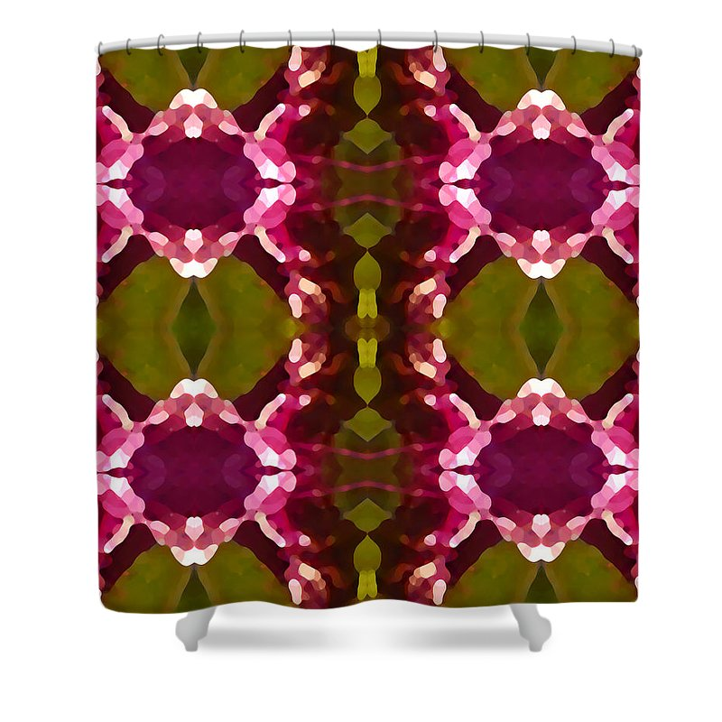 Abstract Painting Shower Curtain featuring the digital art Magenta Crystals Pattern 2 by Amy Vangsgard