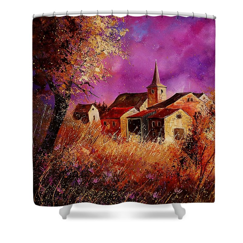 Landscape Shower Curtain featuring the painting Magic Autumn by Pol Ledent