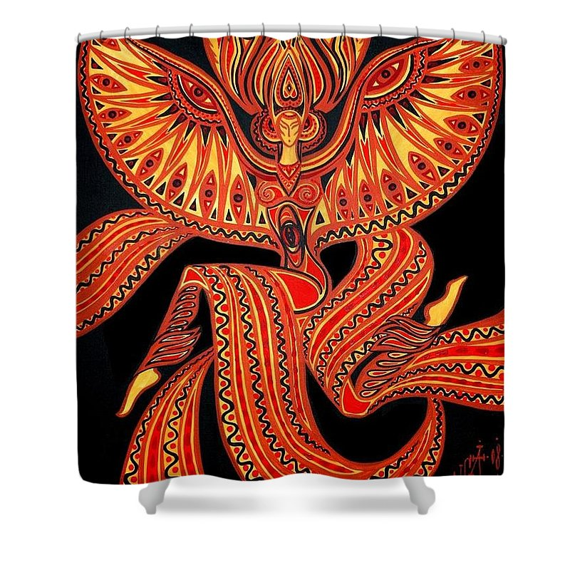 Inga Vereshchagina Shower Curtain featuring the painting Magic Dance by Inga Vereshchagina