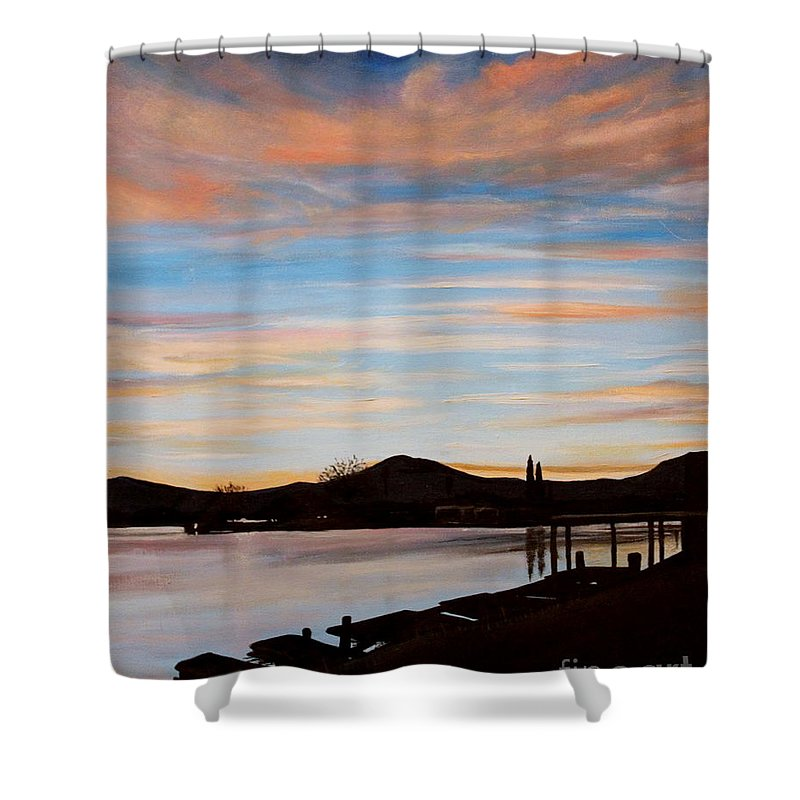 Landscape Shower Curtain featuring the painting Magic by Elizabeth Robinette Tyndall