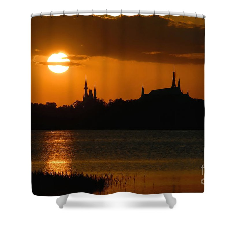 Disney World Shower Curtain featuring the photograph Magic Kingdom Sunset by David Lee Thompson