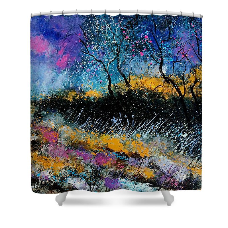 Landscape Shower Curtain featuring the painting Magic Morning Light by Pol Ledent