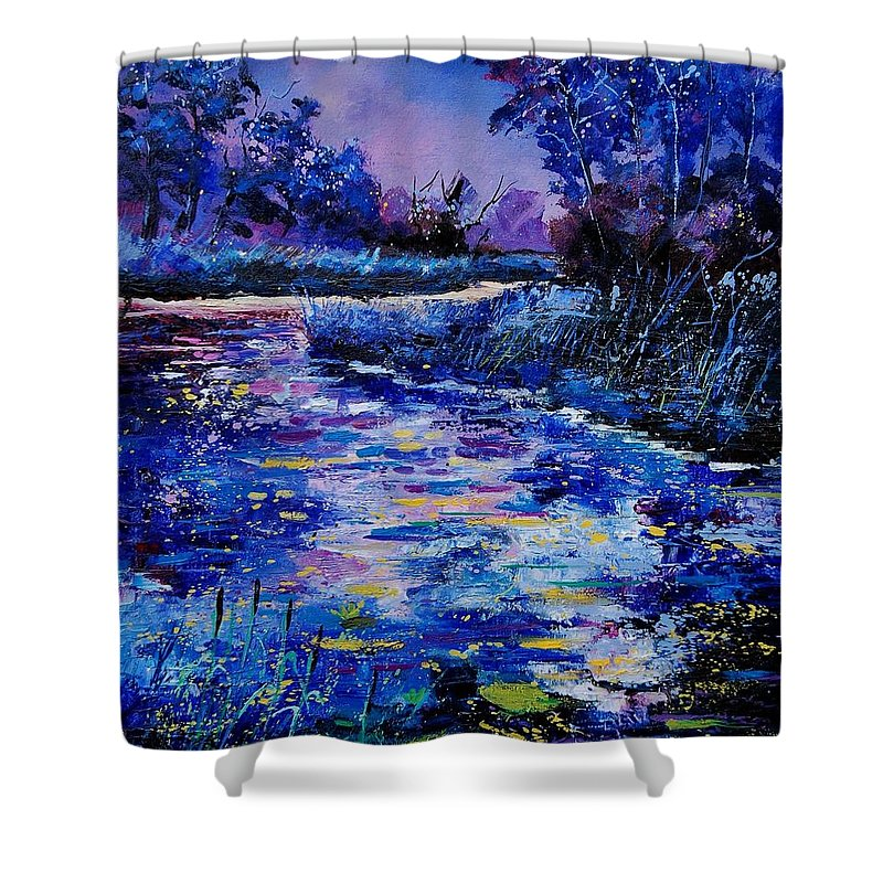 River Shower Curtain featuring the painting Magic Pond by Pol Ledent