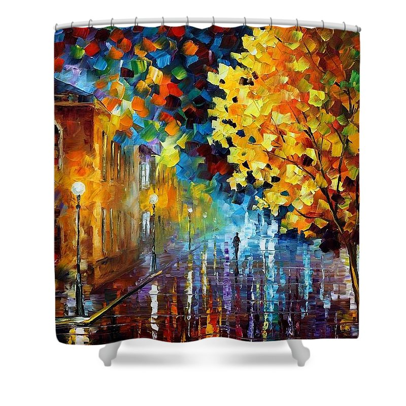 Afremov Shower Curtain featuring the painting Magic Rain by Leonid Afremov