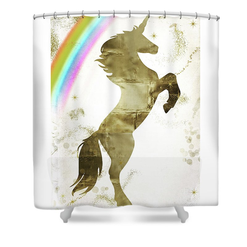 Unicorn Shower Curtain Featuring The Painting Magic II By Mindy Sommers