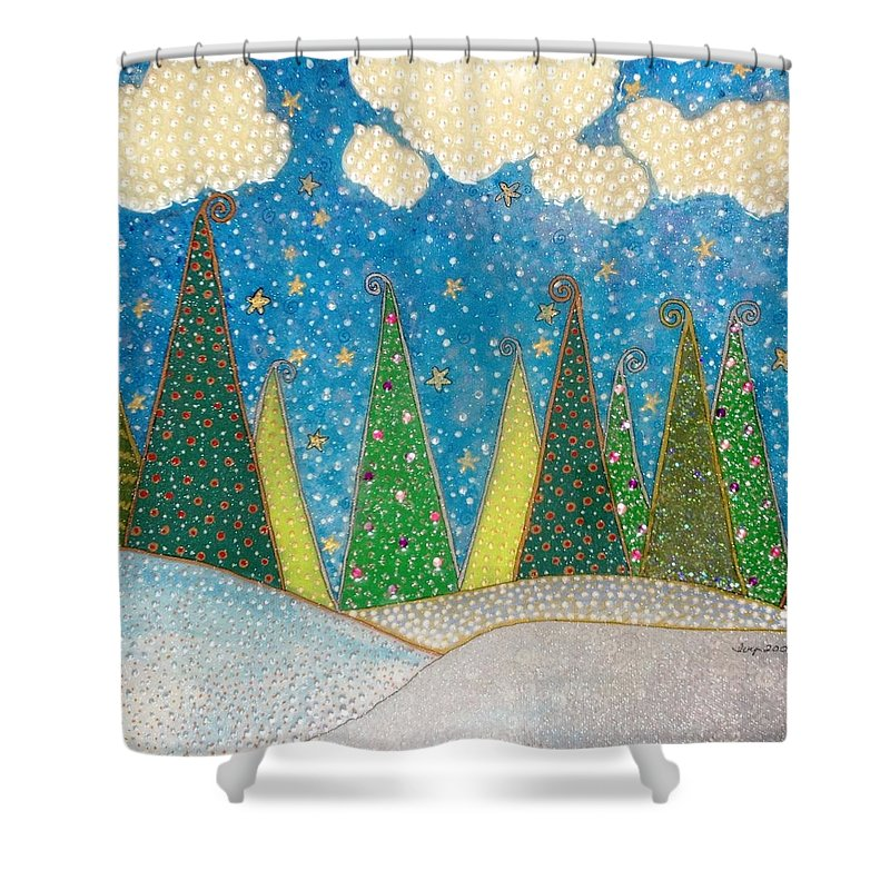 Sold! Christmas Trees Shower Curtain featuring the painting Magical Christmas Trees by Ivy Stevens-Gupta