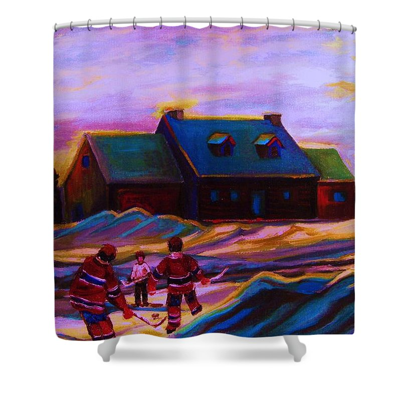Hockey Shower Curtain featuring the painting Magical Day For Hockey by Carole Spandau