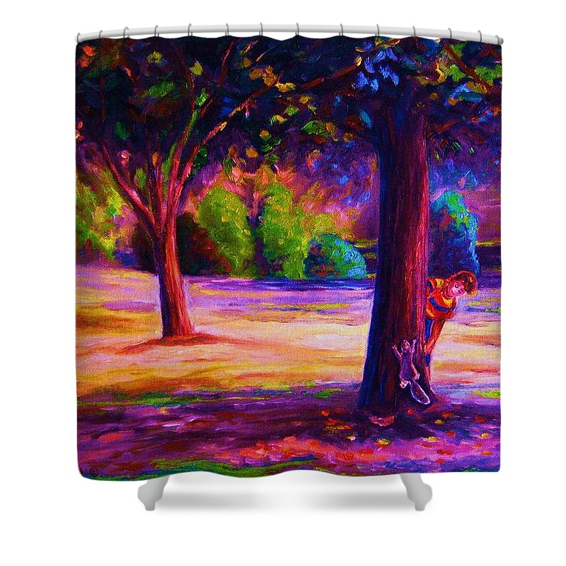 Landscape Shower Curtain featuring the painting Magical Day In The Park by Carole Spandau