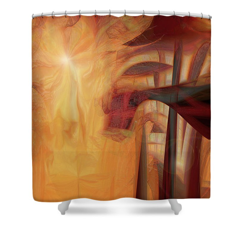 Spiritual Art Shower Curtain featuring the digital art Magical Forest by Linda Sannuti