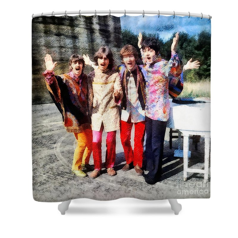 Hollywood Shower Curtain featuring the painting Magical Mystery Tour, The Beatles by Esoterica Art Agency