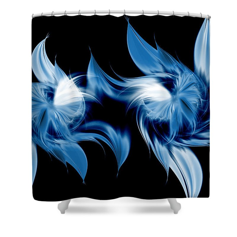 Abstract Shower Curtain featuring the digital art Magical Orchids by Georgiana Romanovna