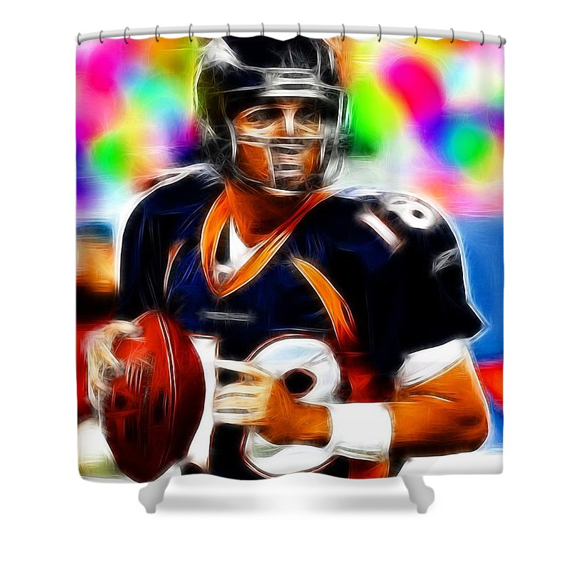Denver Broncos Shower Curtain featuring the painting Magical Peyton Manning Borncos by Paul Van Scott