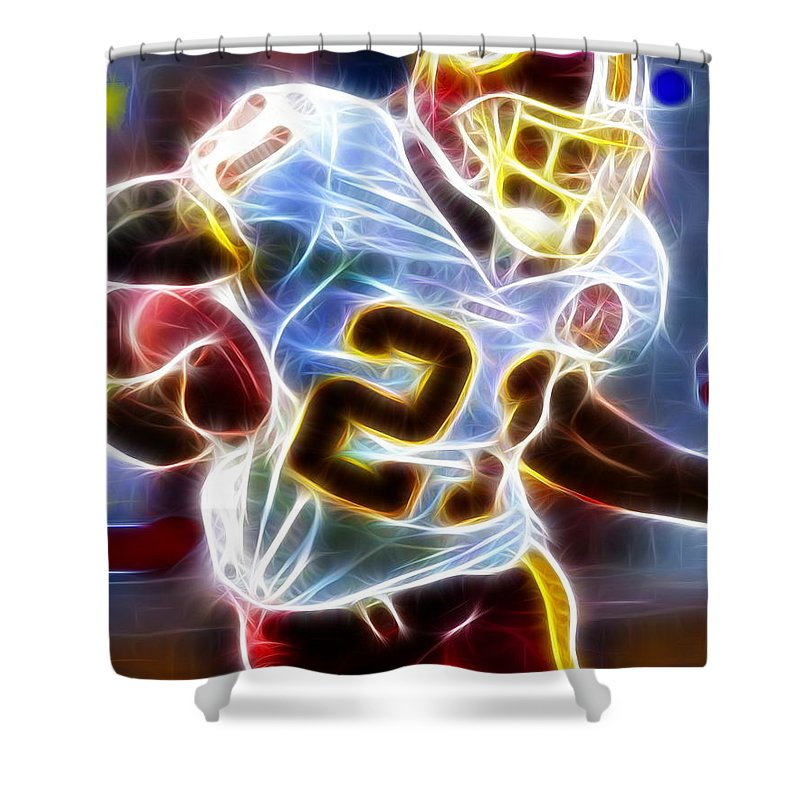 Sean Taylor Shower Curtain featuring the painting Magical Sean Taylor by Paul Van Scott