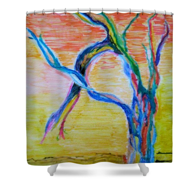Abstract Painting Shower Curtain featuring the painting Magical Tree by Suzanne Udell Levinger