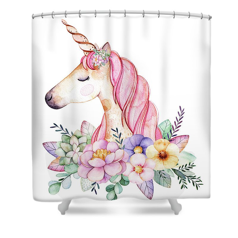 Fantasy Shower Curtain Featuring The Digital Art Magical Watercolor Unicorn By Lisa Spence