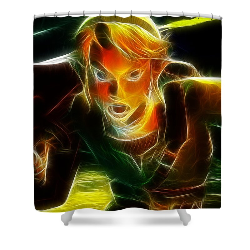 Video Game Shower Curtain Featuring The Painting Magical Zelda Link By Paul Van Scott