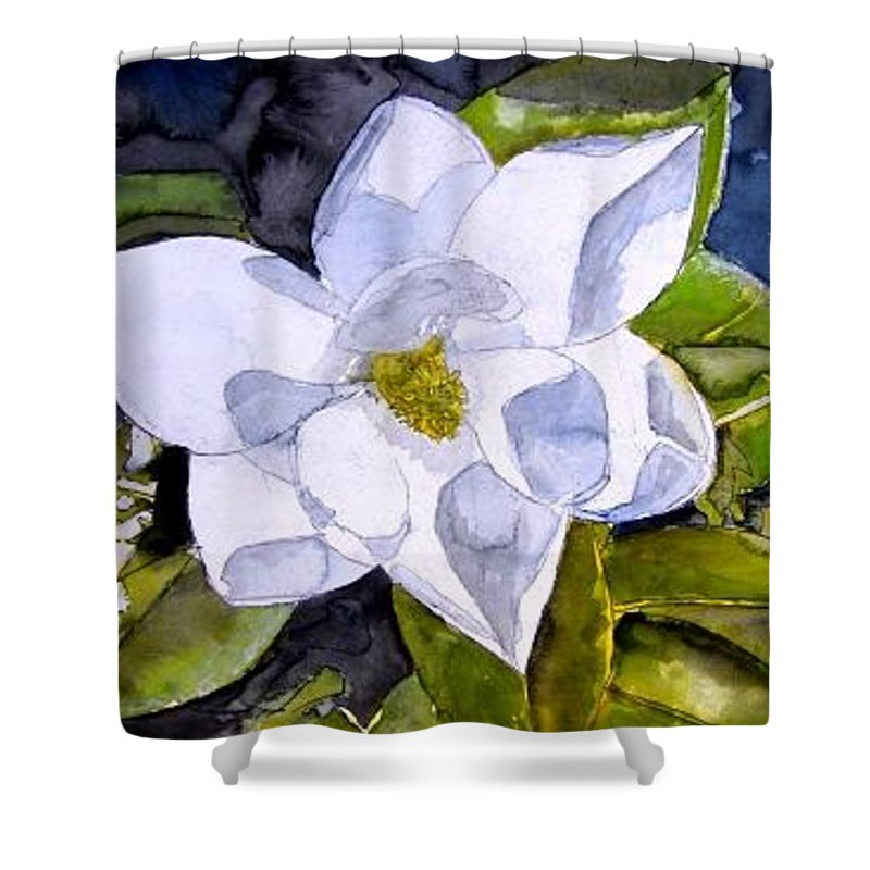 Magnolia Shower Curtain featuring the painting Magnolia 2 Flower Art by Derek Mccrea