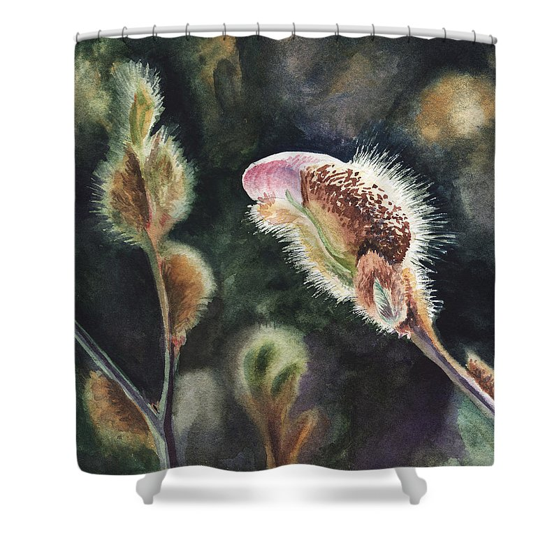 Magnolia Shower Curtain featuring the painting Magnolia Bud By Irina Sztukowski by Irina Sztukowski