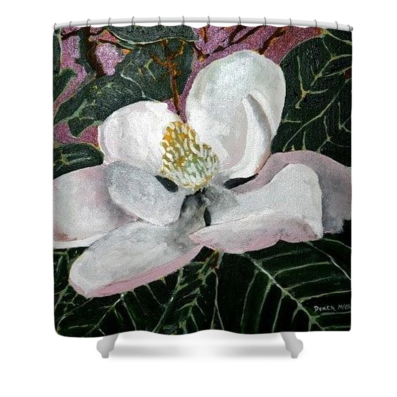 Acrylic Shower Curtain featuring the painting Magnolia Flower Painting by Derek Mccrea