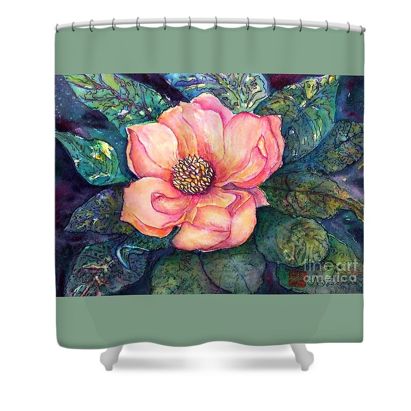Flowers Shower Curtain featuring the painting Magnolia In The Evening by Norma Boeckler