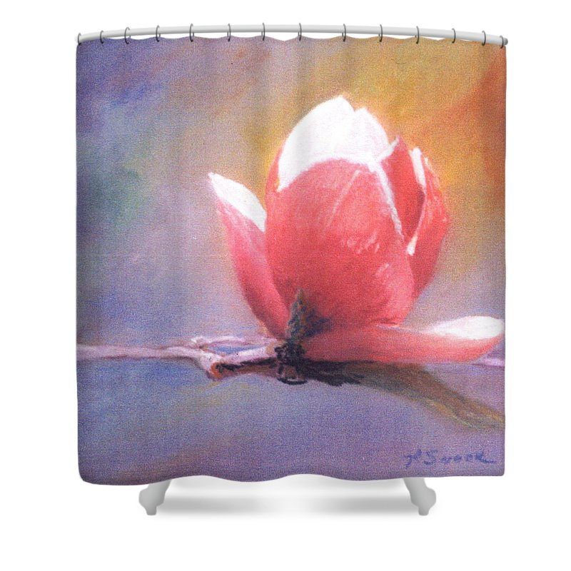 Magnolia Flower Shower Curtain featuring the pastel Magnolia by Pat Snook
