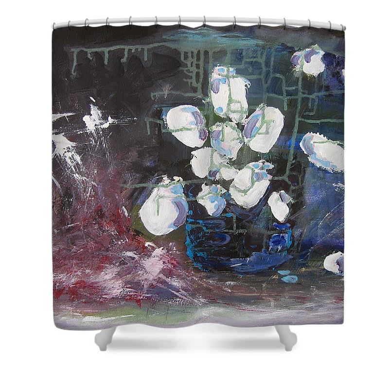 Abstract Paintings Shower Curtain featuring the painting Magnolia by Seon-Jeong Kim