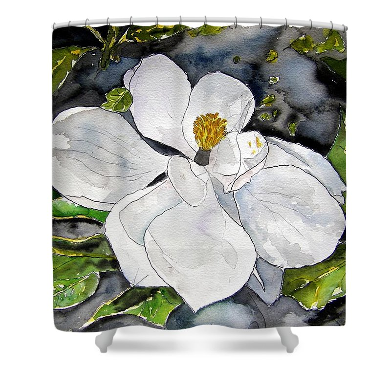 Magnolia Shower Curtain featuring the painting Magnolia Tree Flower by Derek Mccrea