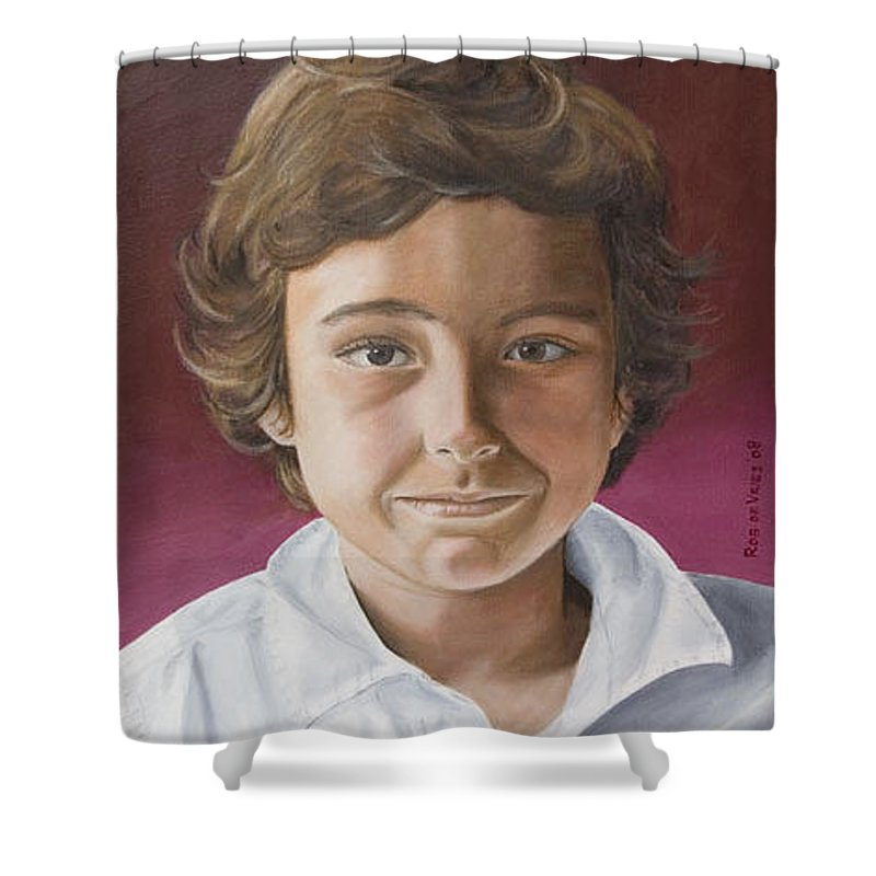 Portrait Shower Curtain featuring the painting Magnus by Rob De Vries