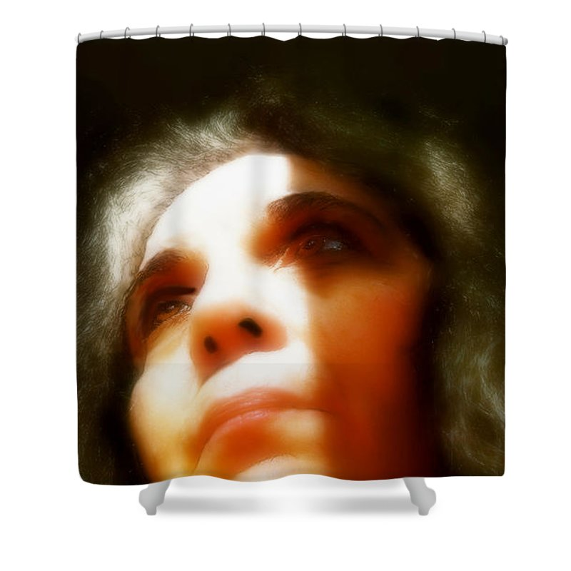 Portrait Shower Curtain featuring the painting Maid Of Constant Sorrow  Self-portrait by RC DeWinter