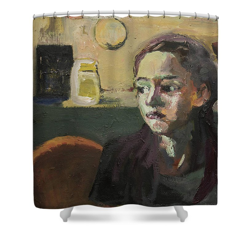 Young Girl Shower Curtain featuring the painting Maiden In Cafe by Craig Newland