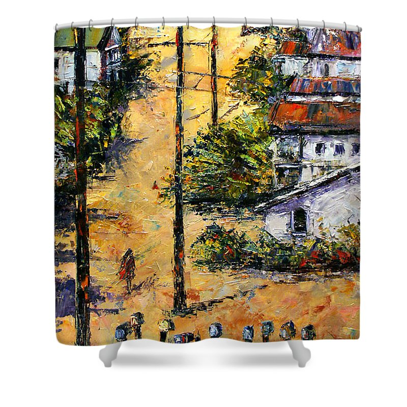 Chavez Revine Shower Curtain featuring the painting Mail Boxes Chavez Revine by Debra Hurd
