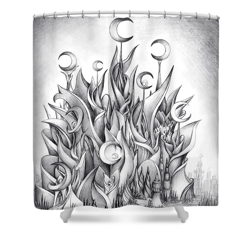 Castle Shower Curtain featuring the drawing Main Castle Of The Silver Moon Empire by Sofia Metal Queen