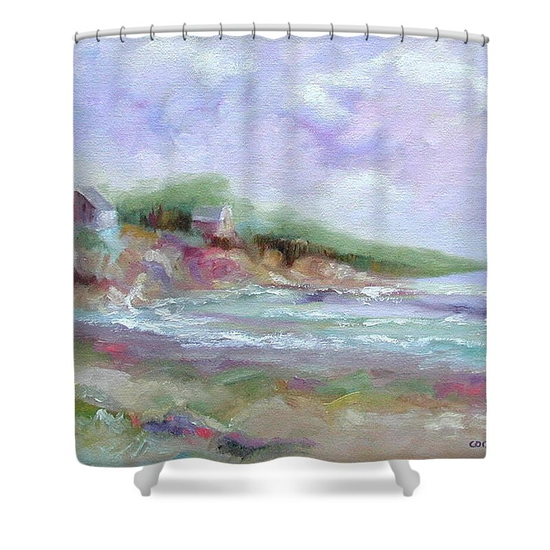Maine Coastline Shower Curtain featuring the painting Maine Coastline by Ginger Concepcion