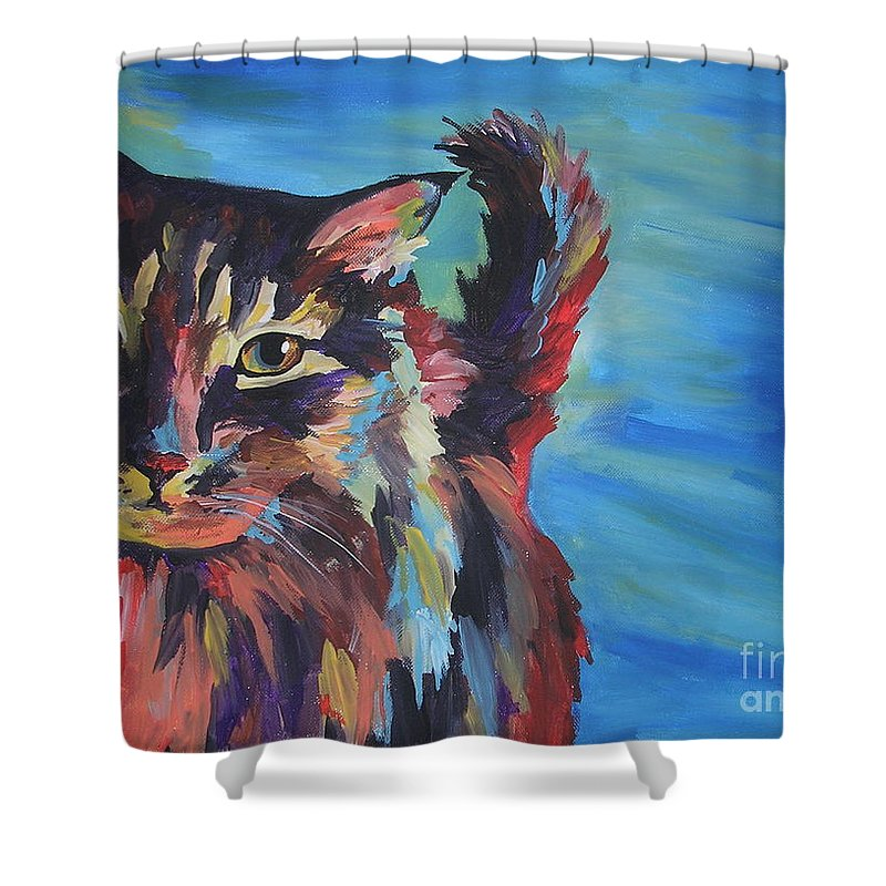 Cat Shower Curtain featuring the painting Maine Coon by Caroline Davis
