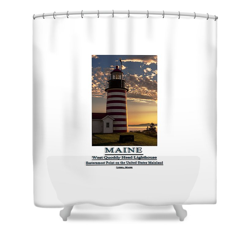 West Quoddy Head Lighthouse Shower Curtain featuring the photograph Maine Good Morning West Quoddy Head Lighthouse by Marty Saccone