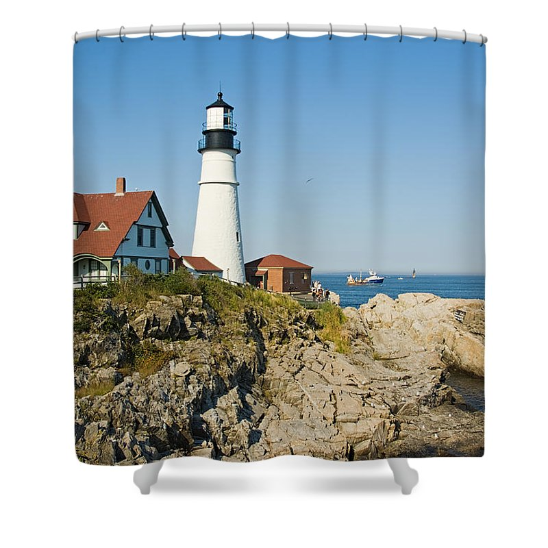 Portland Shower Curtain featuring the photograph Maine Lighthouse by Terry Wieckert