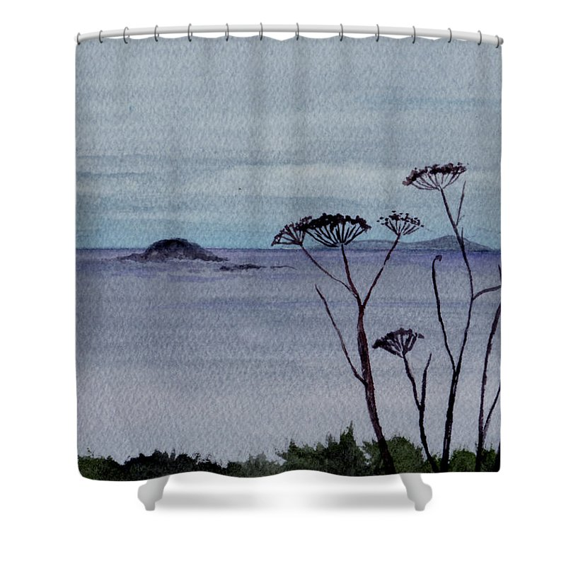 Landscape Watercolor Sea Ocean Sky Cloudy Flower Weed Shower Curtain featuring the painting Maine Moody Distance by Brenda Owen