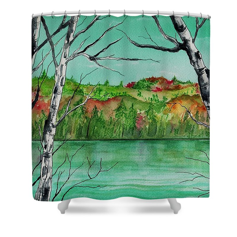 Watercolor Shower Curtain featuring the painting Maine's Autumn Finery by Brenda Owen
