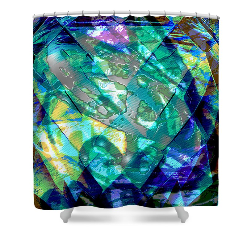 Abstract Shower Curtain featuring the digital art Mainspring Of Time by Seth Weaver