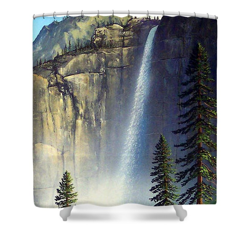 Landscape Shower Curtain featuring the painting Majestic Falls by Frank Wilson