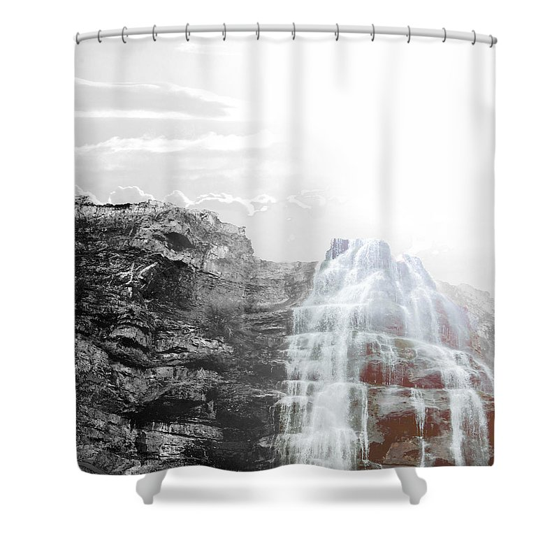 Shower Curtain featuring the photograph Majestic Falls Selective Color by Sylvia Coomes
