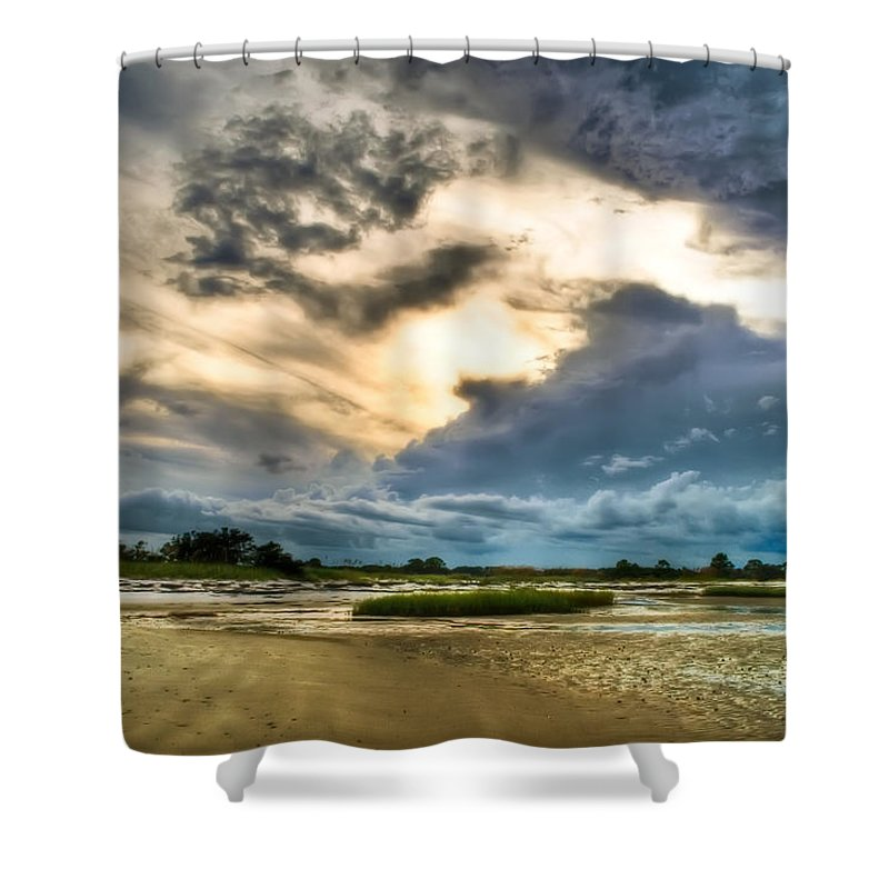 Beach Shower Curtain featuring the photograph Majestic Sky by Rich Leighton
