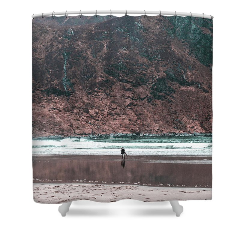 Surfer Shower Curtain featuring the photograph Majestic Surfer by Eskil Bjerkestrand