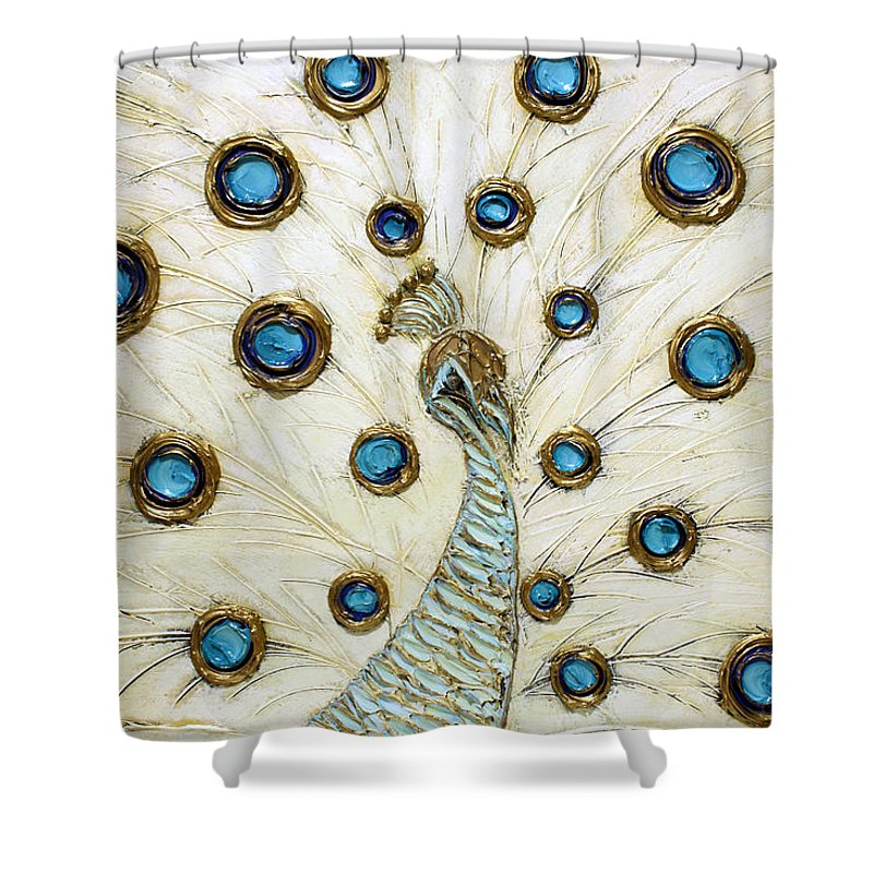 Peacock Shower Curtain featuring the painting Majestic by Susanna Shaposhnikova