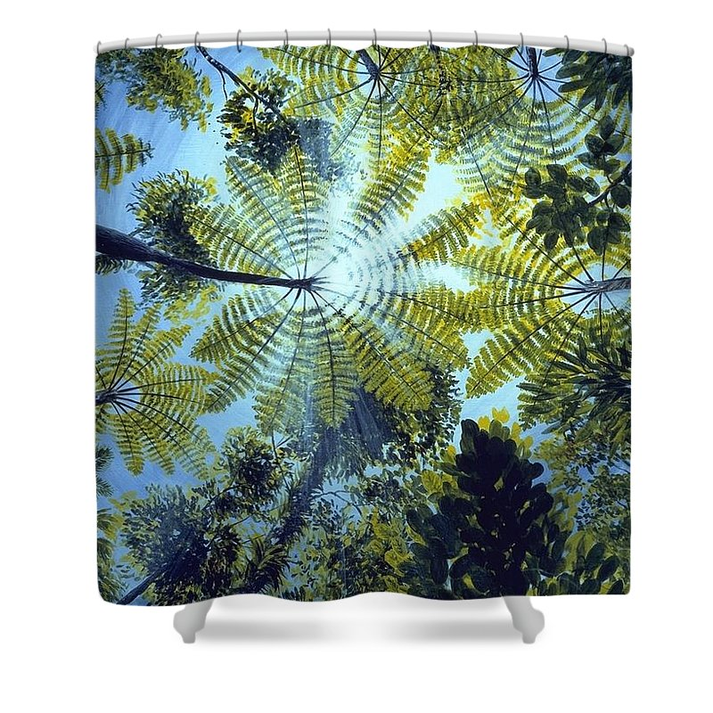 Chris Cox Shower Curtain featuring the painting Majestic Treeferns by Christopher Cox