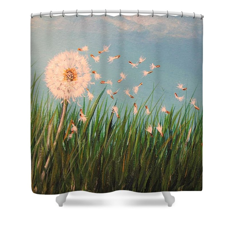 Meadow Shower Curtain featuring the painting Make A Wish by Lisa Cini
