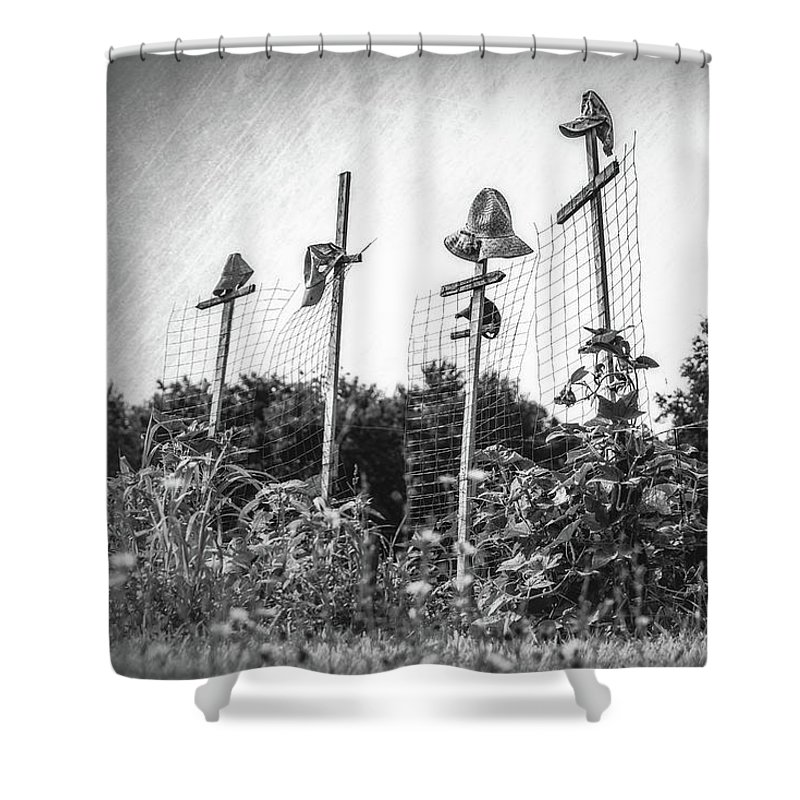 Hat Shower Curtain featuring the photograph Makeshift Scarecrows by Tom Mc Nemar