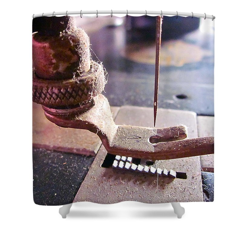 Photograph Of Sewing Machine Shower Curtain featuring the photograph Making A Living by Gwyn Newcombe