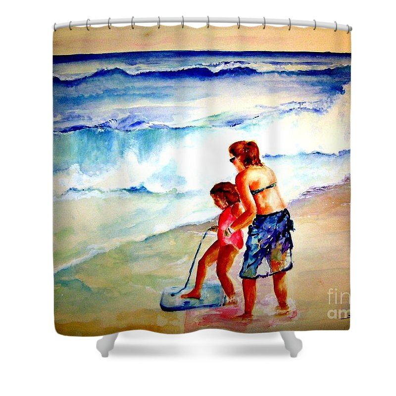 Beach Surf Shower Curtain featuring the painting Making A Memory by Sandy Ryan