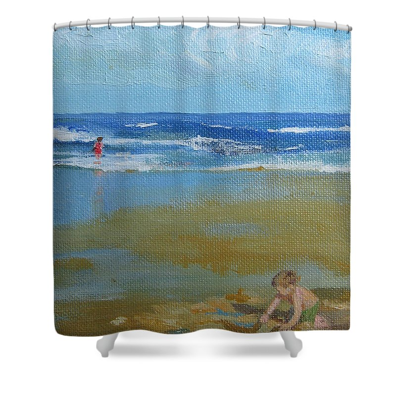 Leslie Mcgrath Shower Curtain featuring the painting making castles on Salisbury Beach by Leslie Alfred McGrath